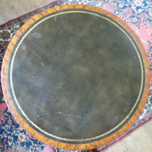 Leather Top Circular Drum Table