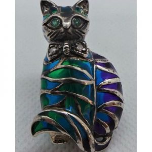 Silver Enamel Diamond Emerald Cat Brooch / Pendant