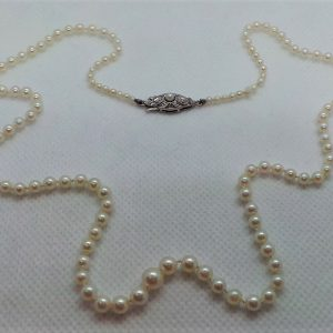Antique Cultured Pearl Necklace with White Gold Clasp