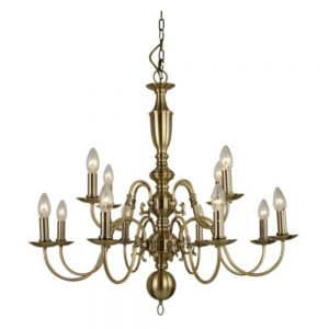 Brass Chandelier with 12 lights