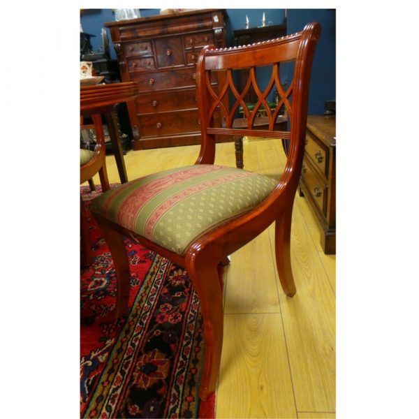 dining table, six chairs, chair side