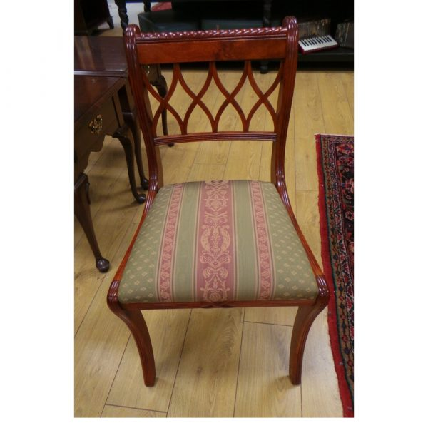 dining table, six chairs, front of chair