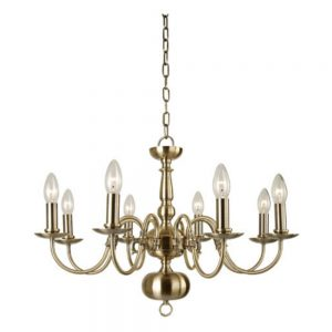 Flemish Chandelier with 8 Lights and Antique Brass Finish