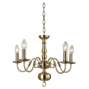 Flemish Chandelier with 5 Lights in an Antique Brass Finish