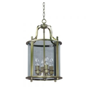 Hall Lantern with Round Glass and Antique Brass Finish