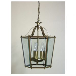 Hall Panel Lantern with Antique Brass Finish