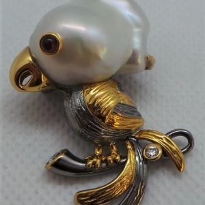 Silver, Pearl and Ruby Parrot Brooch / Pendant