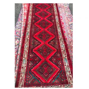 Rich Red Persian Mushwani Rug with Diamond Medallion Design