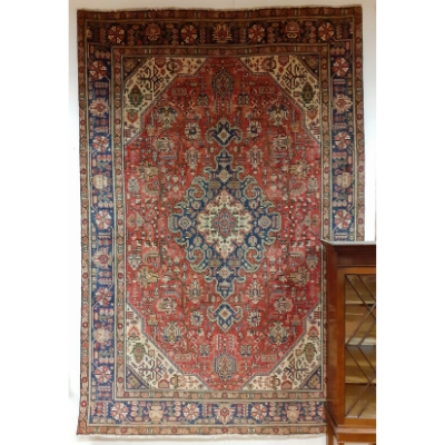 Washed Red Ground Full Pile Tabriz Carpet with Traditional Tabriz Medallion Design