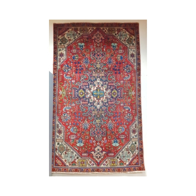 Red Ground Persian Tabriz Rug with Traditional Tabriz Design