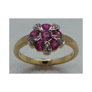 9ct Gold Diamond and Ruby Cluster Ring