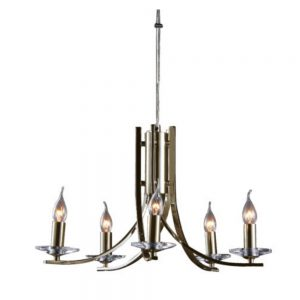 Vulcan 5 Light Chandelier in Antique Brass Finish