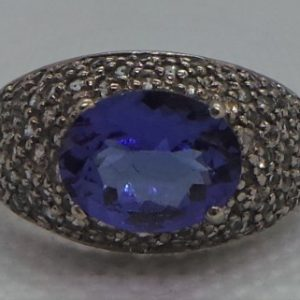 White Gold, Diamond and Tanzanite Cluster Ring