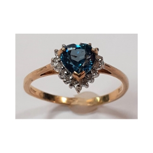 Gold Diamond and Zircon Cluster Heart Ring