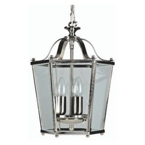 Panel Lantern with Satin Nickel Finish