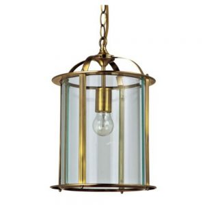 Round Glass Lantern in Antique Brass Finish