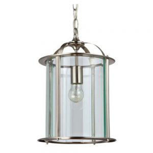 Round Glass Lantern with Satin Nickel Finish