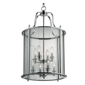 Round Glass Lantern with Polished Chrome Finish