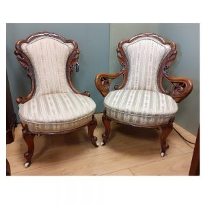 Pair of Victorian Walnut His and Her Armchairs