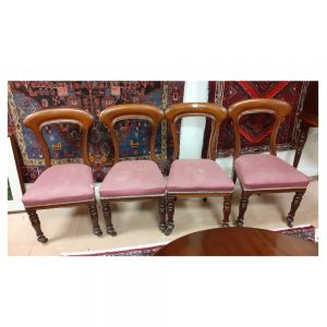 Set of 4 Early Victorian Mahogany Dining Chairs on Porcelain Castors