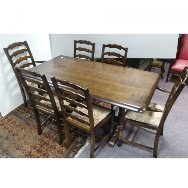 Ercol Table with Four Chairs and Two Carvers