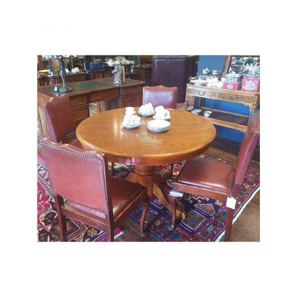 Solid Oak Circular Table and 4 Chairs