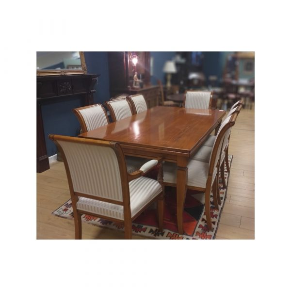 Walnut 2-Leaf Extending Dining Table with 6 Chairs and 2 Carvers