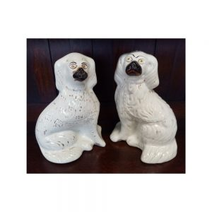 Pair of Flatback Ceramic Dogs