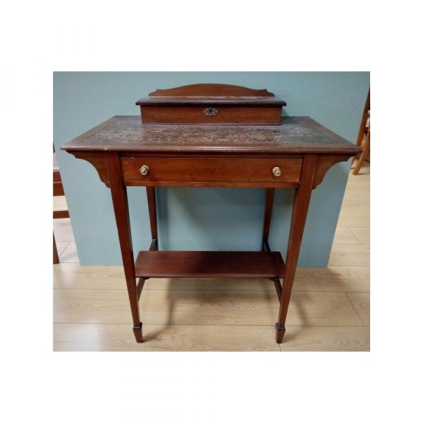 Neat leather top desk with drawer