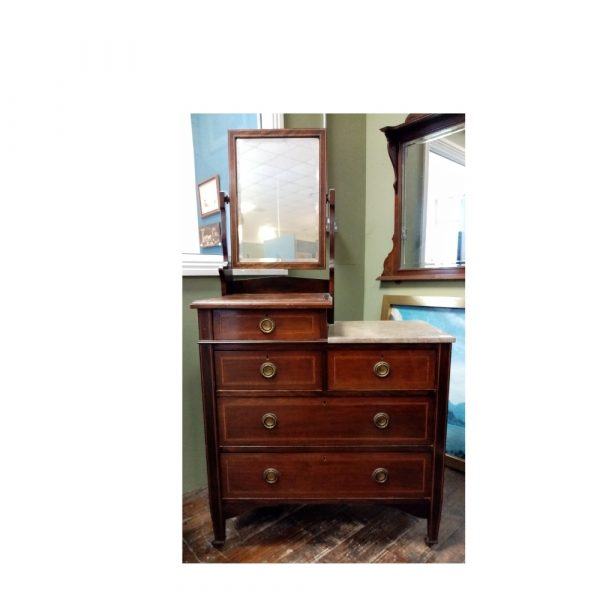 Edwardian Inlaid Dresser with marble top and mirror