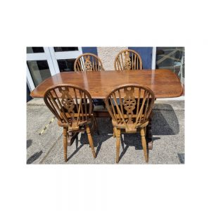 Ercol Refectory-type Dining Table & Four Wheel-Back Chairs