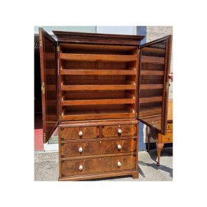 19th Century Flame Mahogany Inlaid Linen Cupboard