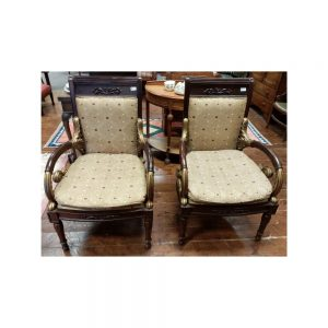 Pair Ornate Carved Chairs