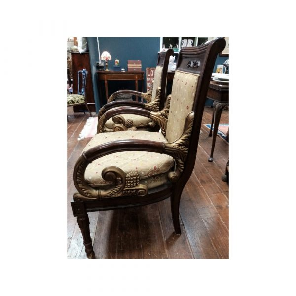 Pair ornate carved chairs with gilding